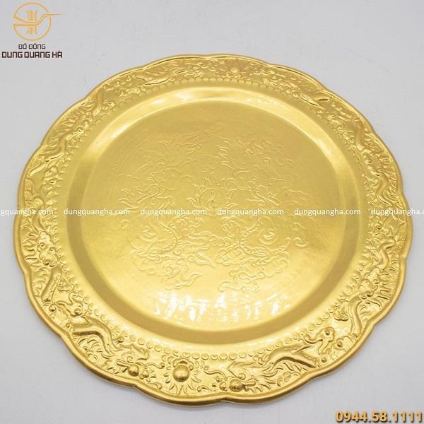 Mâm đồng mạ vàng 24k đường kính 25cm họa tiết cao cấp