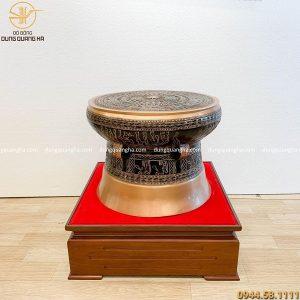 Quả trống đồng đúc bằng đồng đỏ nền đen 50cm tinh xảo
