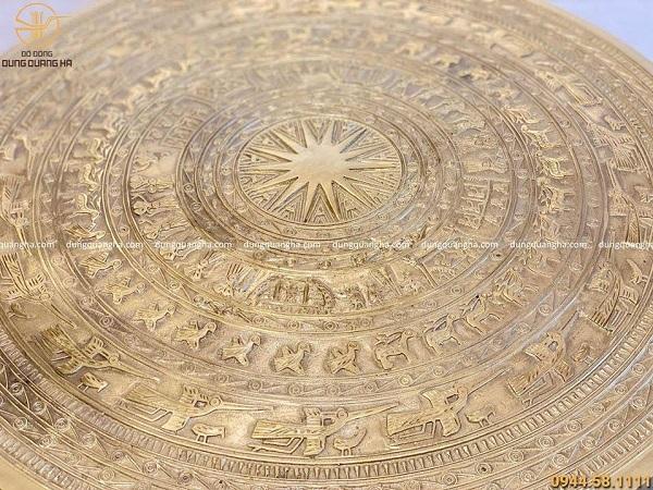 Quả trống đồng Ngọc Lũ bằng đồng catut 50cm (có đế gỗ)