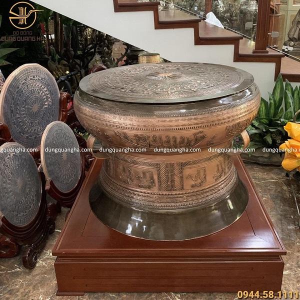 Quả trống đồng phong thủy bằng đồng đỏ đường kính 81cm