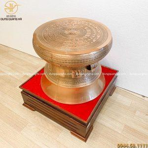 Quả trống đồng phong thủy bằng đồng đỏ mộc cao 50cm