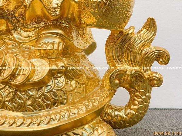 Tượng Di Lặc bằng đồng cưỡi long quy dát vàng cao 45cm