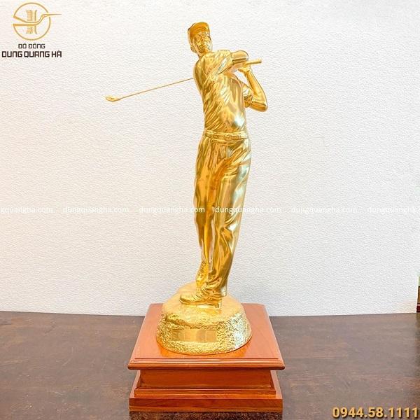 Tượng đồng nghệ thuật người chơi golf thếp vàng hàng đặt