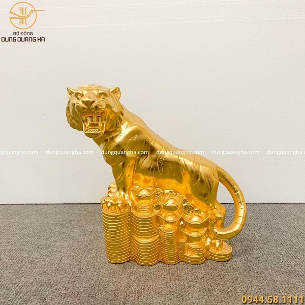 Tượng hổ bằng đồng thếp vàng 9999 cao 28cm độc đáo