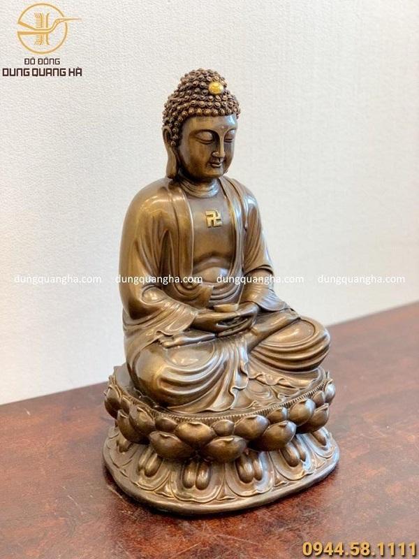 Tượng Phật A Di Đà đẹp nhất bằng đồng vàng hun cao 40cm