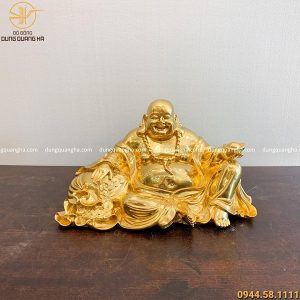 Tượng Phật Di Lặc ngồi bằng đồng thếp vàng cao 24cm