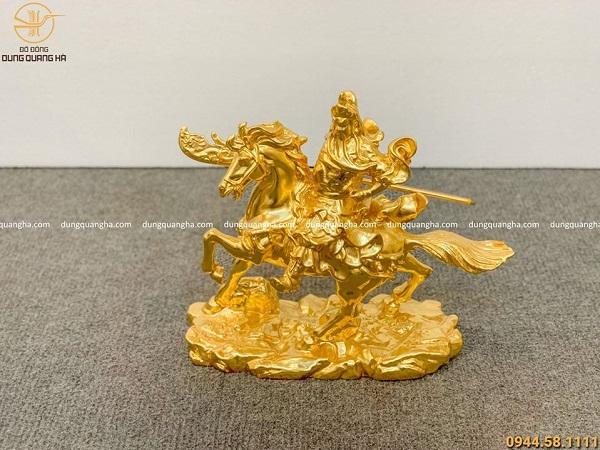 Tượng Quan Công cưỡi ngựa bằng đồng dát vàng cao 22cm