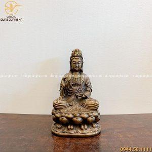 Tượng Quan Thế Âm Bồ Tát bằng đồng vàng hun đen cao 40cm