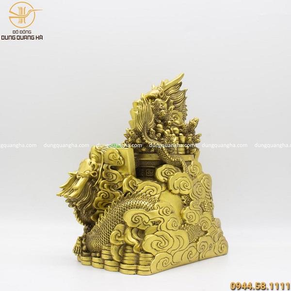 Tượng song long phú quý bằng đồng vàng cao 30cm