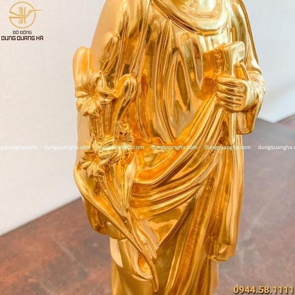 Tượng Thiên Chúa giáo bằng đồng dát vàng cao 40cm tinh xảo``