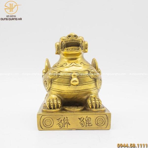 Tượng Tỳ Hưu phong thủy bằng đồng vàng mộc cao 13cm