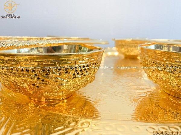 Bộ mâm bát đũa mạ vàng 24k - quà tặng độc đáo, ý nghĩa