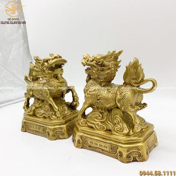 Cặp tượng Kỳ Lân bằng đồng vàng mộc cao 19 cm (cả đế)