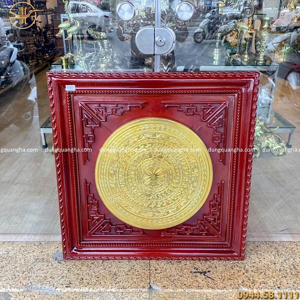 Tranh mặt trống đồng đỏ mạ vàng (mặt trống 50cm - khung gỗ 80cm)