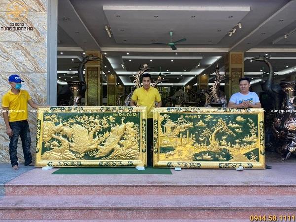 Tranh Ngọc Đường Phú Quý 2m3 x 1m2 nền xanh khung liền đồng dát vàng