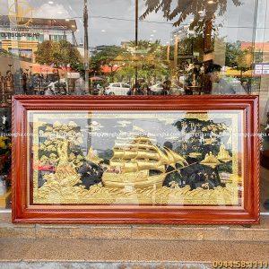 Tranh Thuận Buồm Xuôi Gió dát vàng khung gỗ hương 2m3 x 1m2