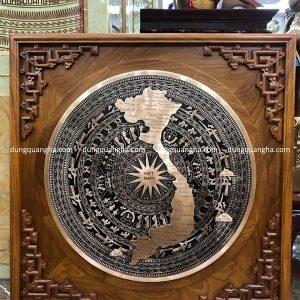 Tranh trống đồng bản đồ Việt Nam đường kính 60cm cả khung 88cm