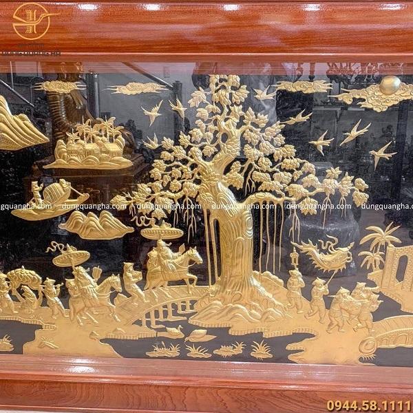 Tranh Vinh Quy Bái Tổ 2m3 dát vàng 9999 khung gỗ cao cấp