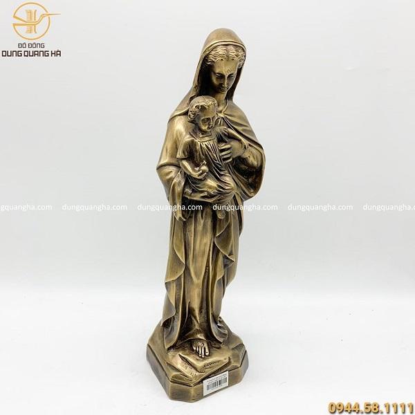 Tượng Đức mẹ Maria đồng vàng hun đen giả cổ cao 42cm