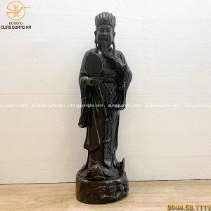 Tượng Khổng Minh bằng đồng hun đen giả cổ cao 80cm