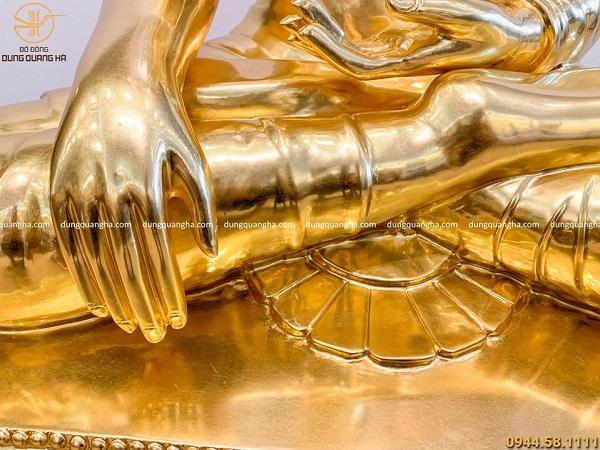 Tượng Phật Thích Ca bằng đồng đỏ dát vàng 90cm (có liếc)
