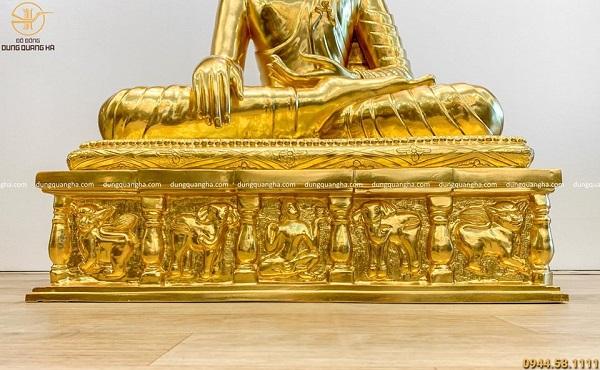 Tượng Phật Thích Ca đẹp bằng đồng đỏ dát vàng cao 90cm