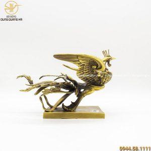 Tượng phượng hoàng bằng đồng vàng mộc cao 18cm dài 29cm
