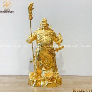 Tượng Quan Công bằng đồng đỏ cao 70cm dát vàng 9999
