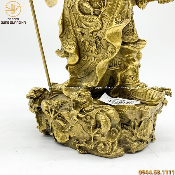 Tượng Quan Công đứng bệ rồng 5 cờ cao 26cm bằng đồng vàng