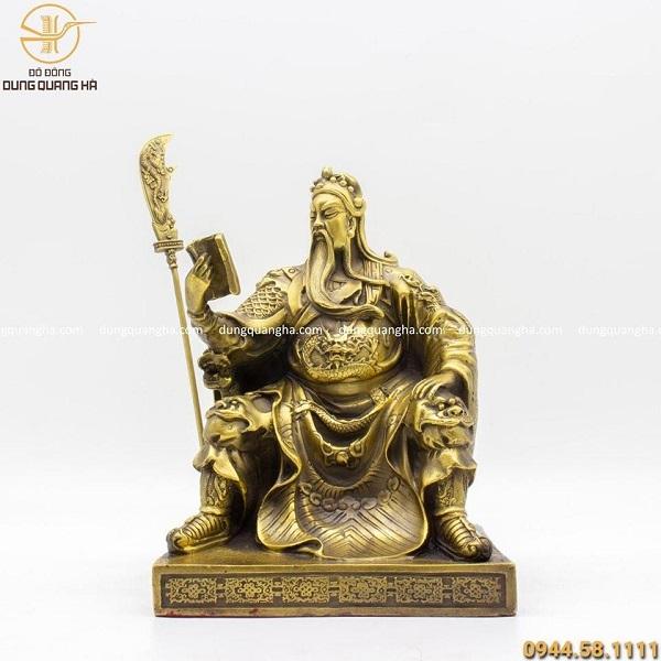 Tượng Quan Công ngồi đọc sách bằng đồng chiều cao 25cm