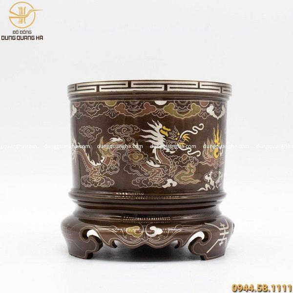 Bát hương đồng đỏ khảm ngũ sắc cao 14cm hoa văn cổ kính