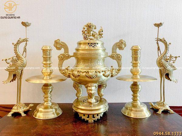 Bộ đồ thờ ngũ sự bằng đồng vàng mộc đỉnh cao 70cm