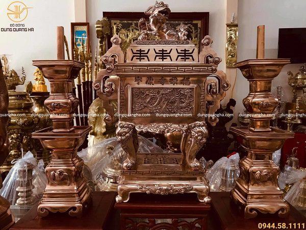 Bộ đồ thờ tam sự đỉnh vuông bằng đồng đỏ mộc cao 60cm