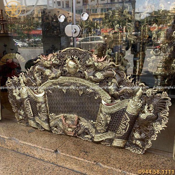 Cuốn thư câu đối 1m55 đồng vàng giả cổ - mẫu đầu rồng nổi