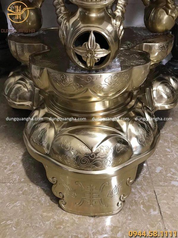 Đỉnh thất lân vờn cầu bằng đồng vàng catut cao 1m15