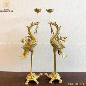 Hạc thờ ngậm sen cao 70cm bằng đồng vàng mộc