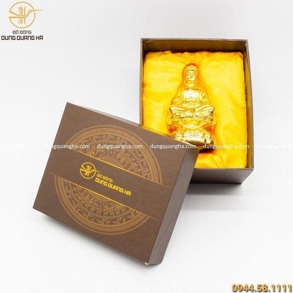 Hộp quà tượng Phật A Di Đà mạ vàng 24k đẹp tinh xảo