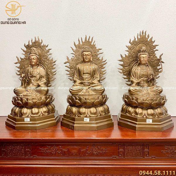 Bộ tượng Tam thánh Phật bằng đồng đỏ cao 60cm - liếc cao 70cm