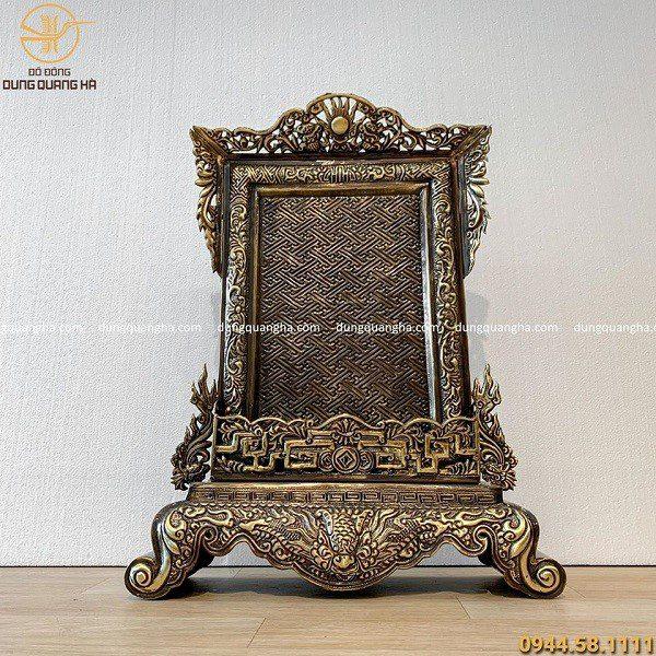 Mẫu bài vị thờ cúng bằng đồng cao 58cm hoa văn cổ kính