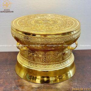 Quả trống đồng lưu niệm mạ vàng 24k đường kính 30cm