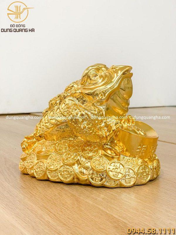Tượng cóc thiềm thừ bằng đồng mạ vàng cao 14cm dài 18cm