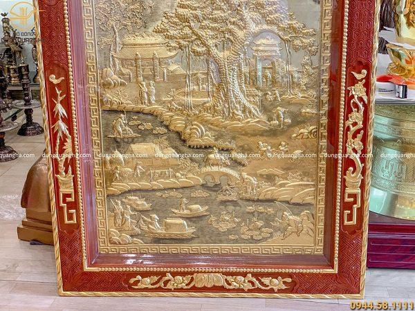 Tranh đồng quê đẹp bằng đồng dọc 2m3 dát vàng cả khung