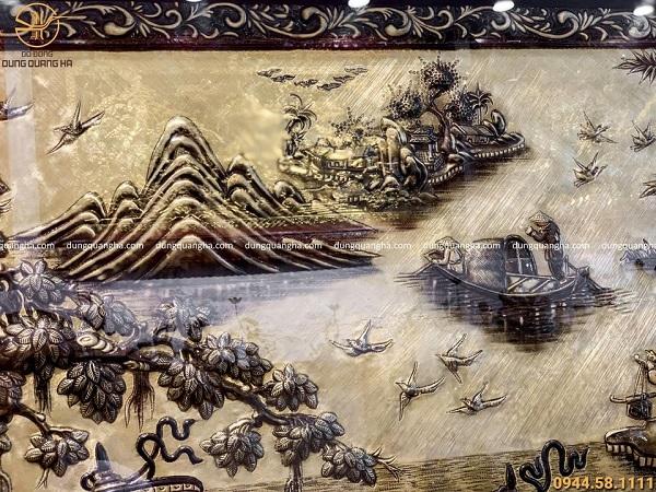 Tranh đồng Vinh Quy Bái Tổ xước giả cổ viền họa tiết hoa văn 2m3