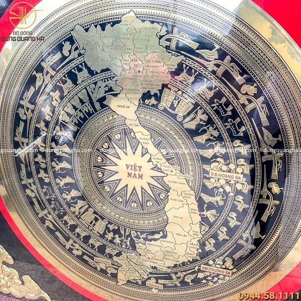 Tranh mặt trống đồng bản đồ Việt Nam công nghệ CNC khung nhựa giả gỗ 90cm