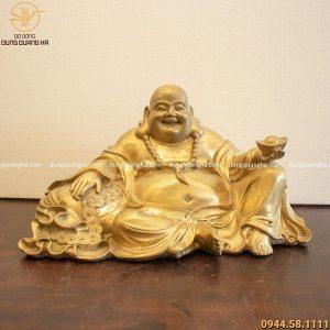 Tượng Phật Di Lặc bằng đồng catut cao 24cm ngang 43cm