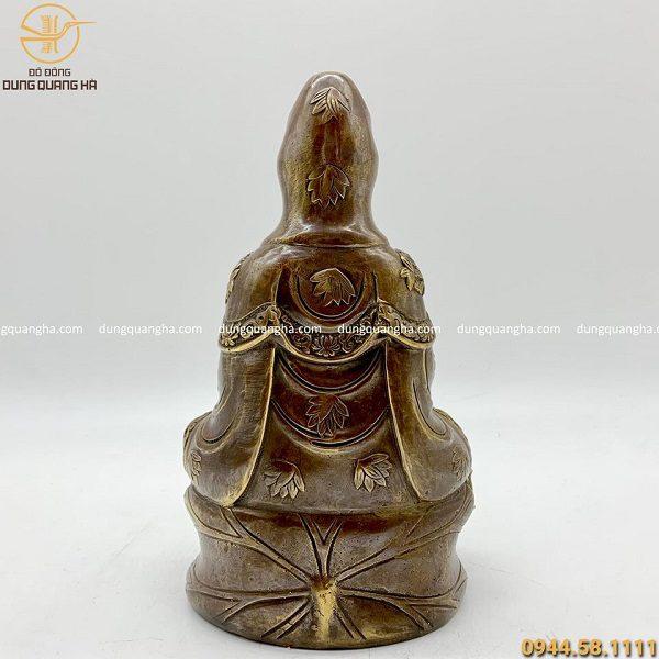 Tượng Phật Quan Âm bằng đồng đỏ hun cao 26cm cổ kính