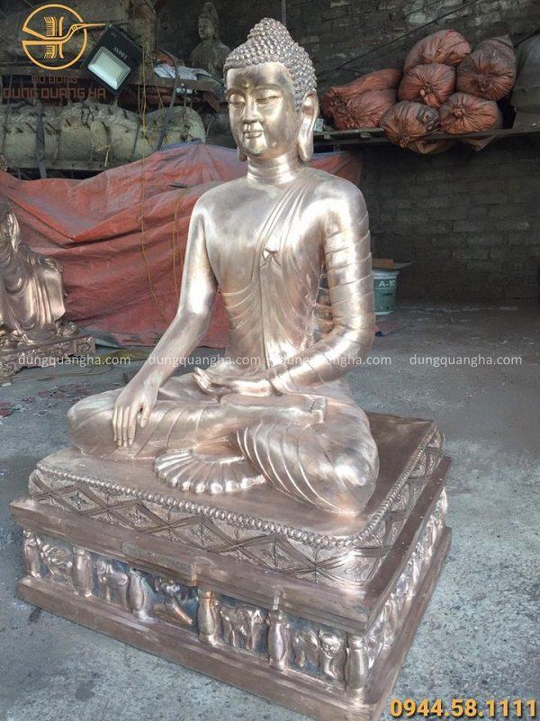 Tượng Phật Thích Ca đồng đỏ cao 1m2 lắp đặt cho chùa Thiên Ân