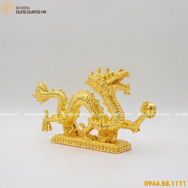 Tượng rồng bằng đồng thếp vàng
