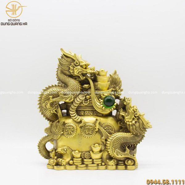Tượng song long phú quý bằng đồng vàng