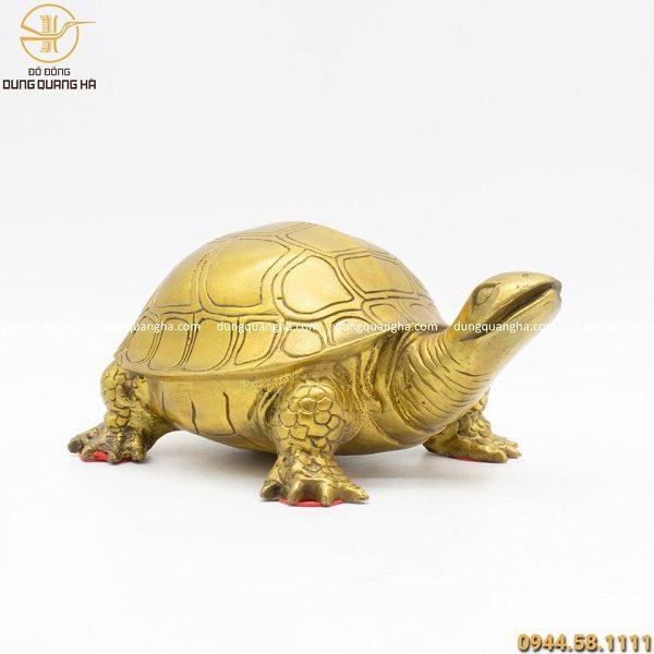 Tượng rùa bằng đồng vàng cao 20cm thiết kế tinh xảo